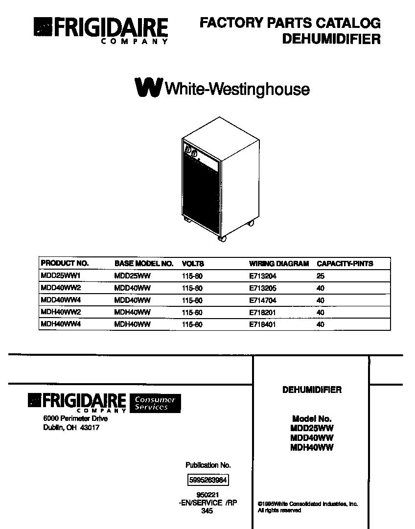 White-Westinghouse MDH40WW4 front cover-no parts list diagram