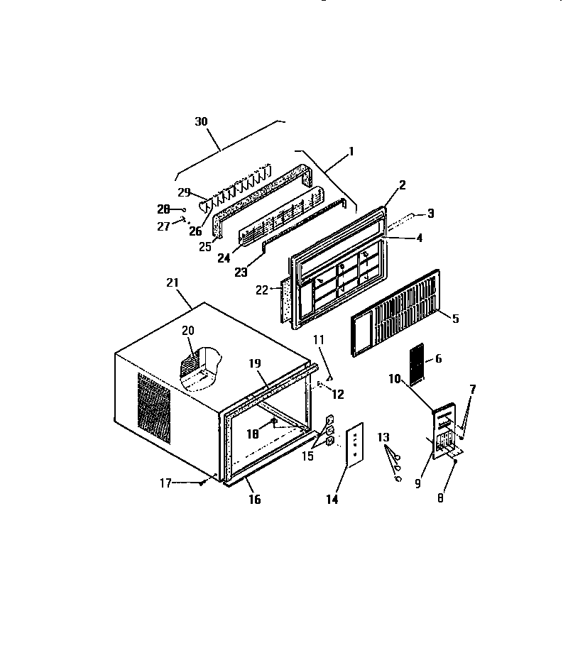 """Frigidaire AHW938UD2 cabinet front (""""dd"""" cabinet models) diagram"""