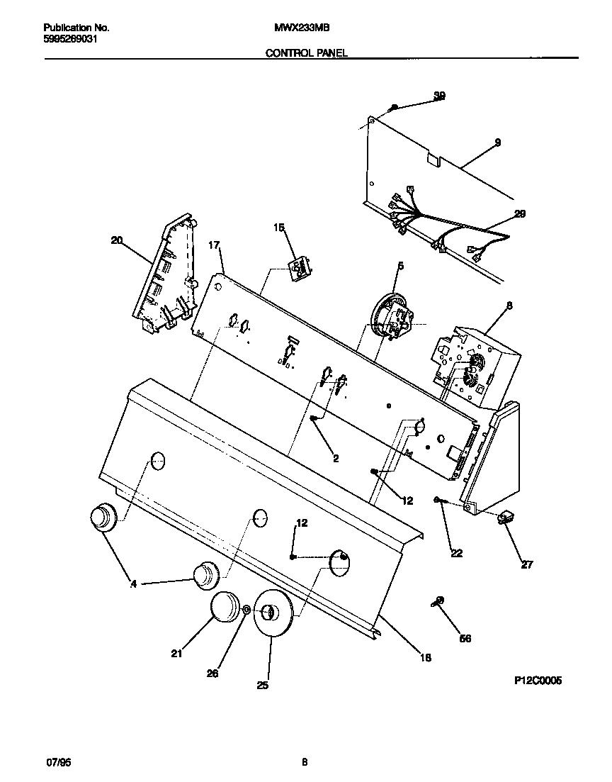 universal multiflex (frigidaire) washer 5995269031 parts model