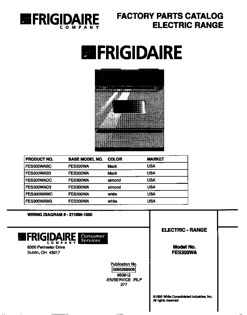 Frigidaire FES300WADC cover diagram
