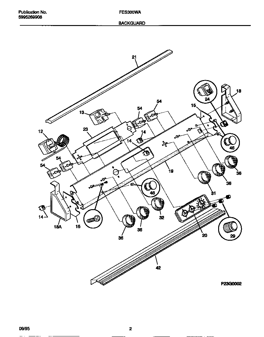 Frigidaire FES300WADC backguard diagram
