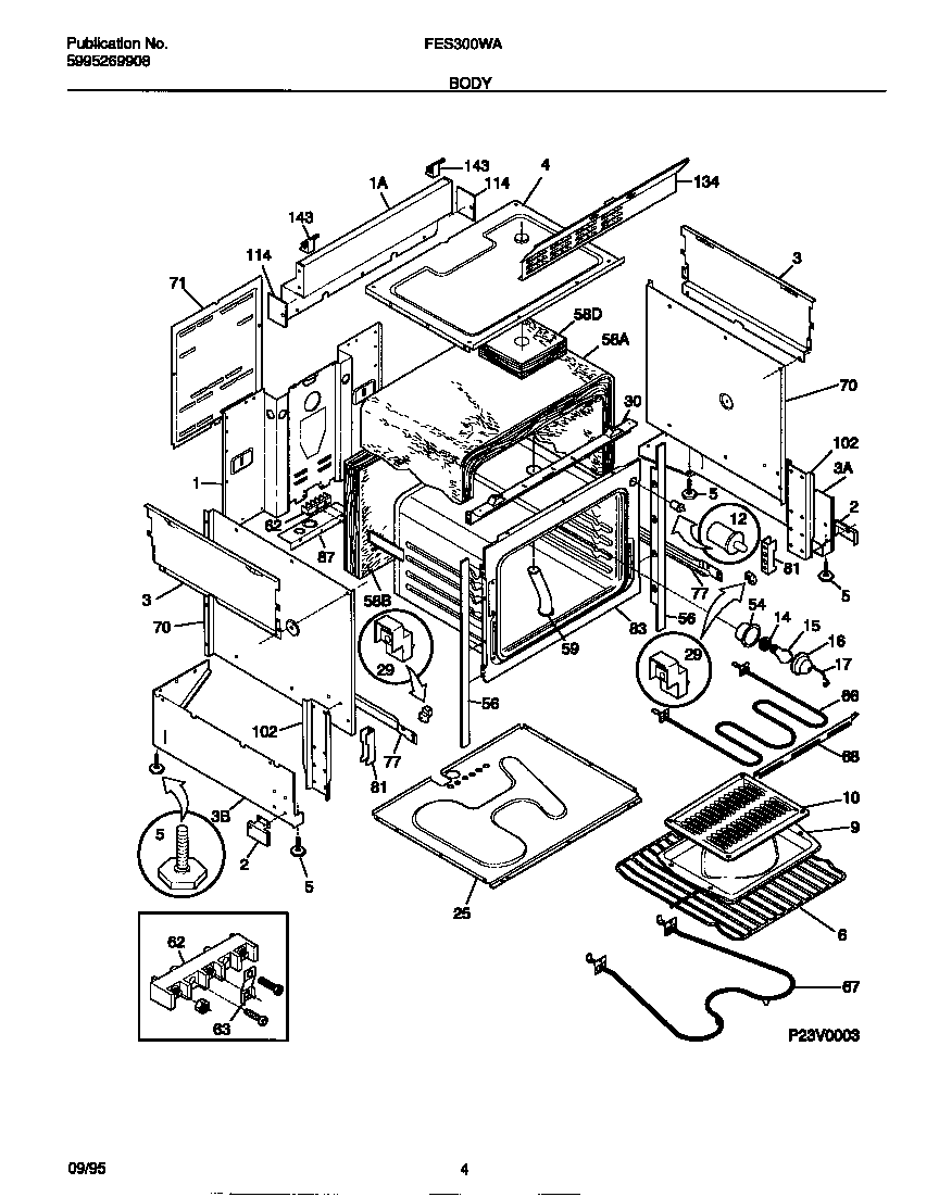 Frigidaire FES300WADC body diagram