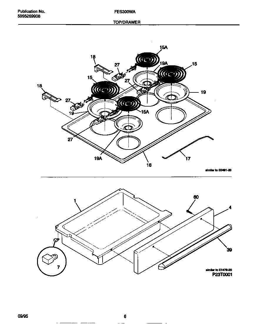 Frigidaire FES300WADC top/drawer diagram