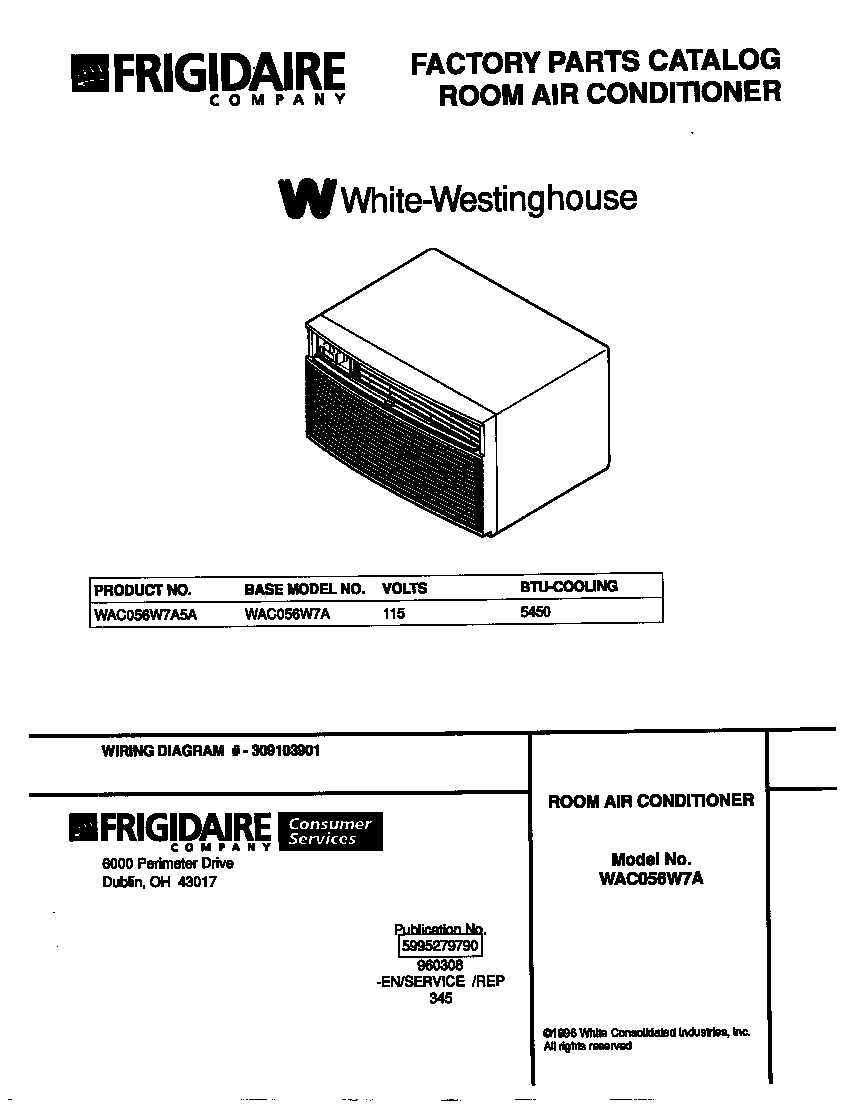 White-Westinghouse WAC056W7A5A cover diagram