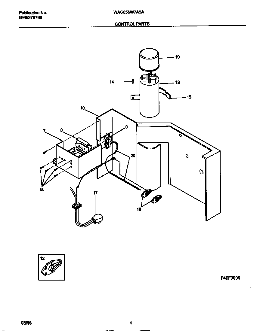 White-Westinghouse WAC056W7A5A control parts diagram