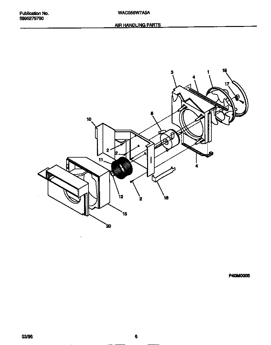 White-Westinghouse WAC056W7A5A air handling parts diagram