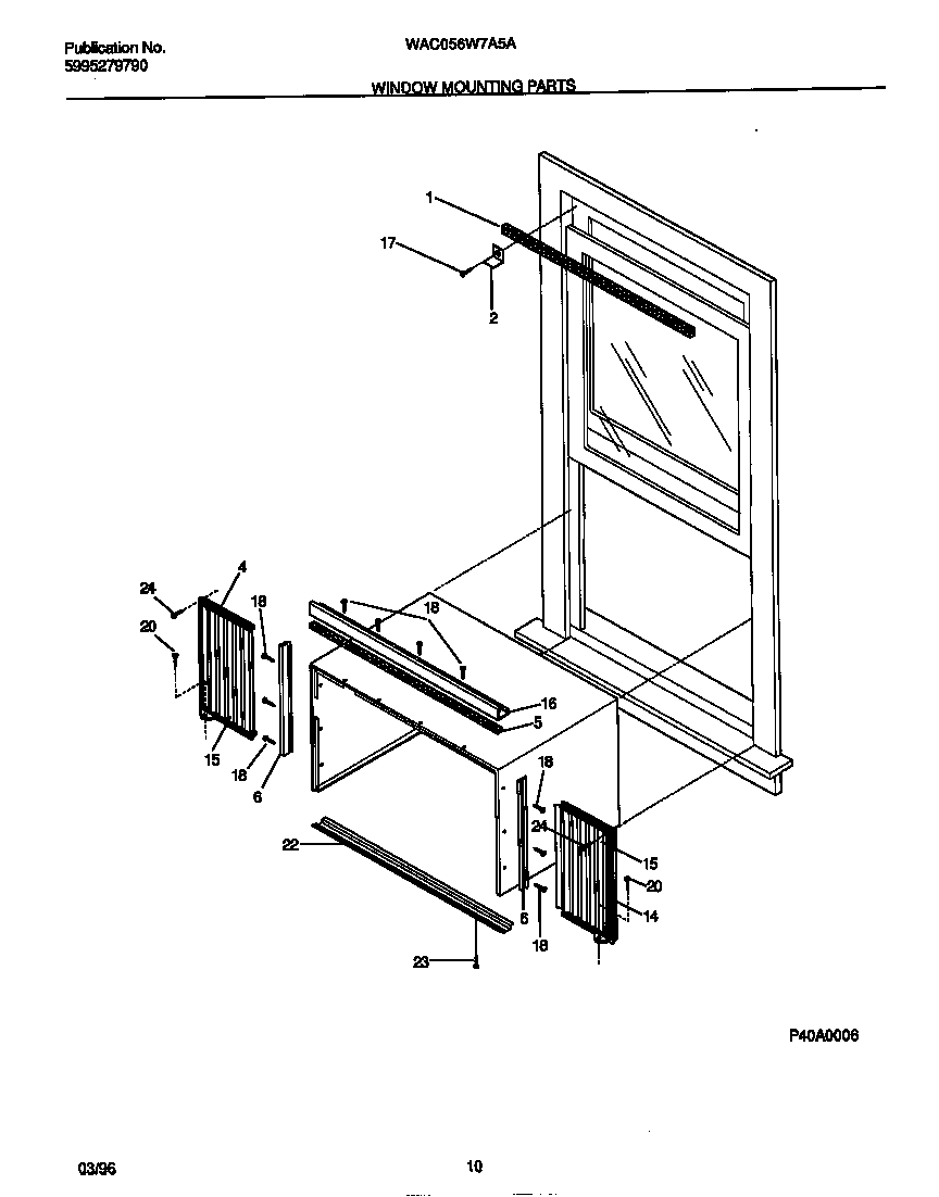 White-Westinghouse WAC056W7A5A window mounting parts diagram