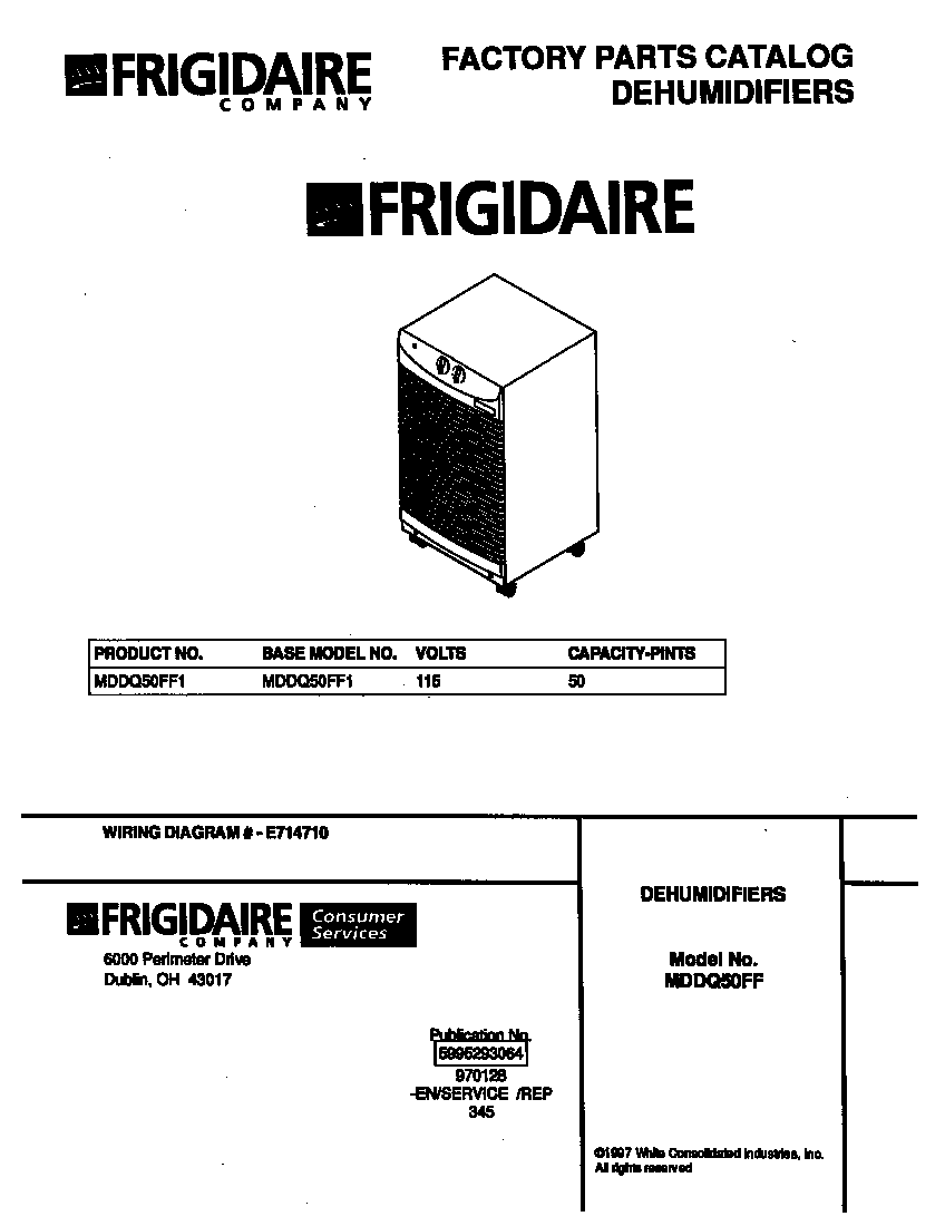 Frigidaire MDDQ50FF1 cover diagram
