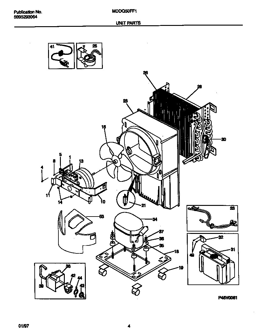 Frigidaire MDDQ50FF1 unit parts diagram