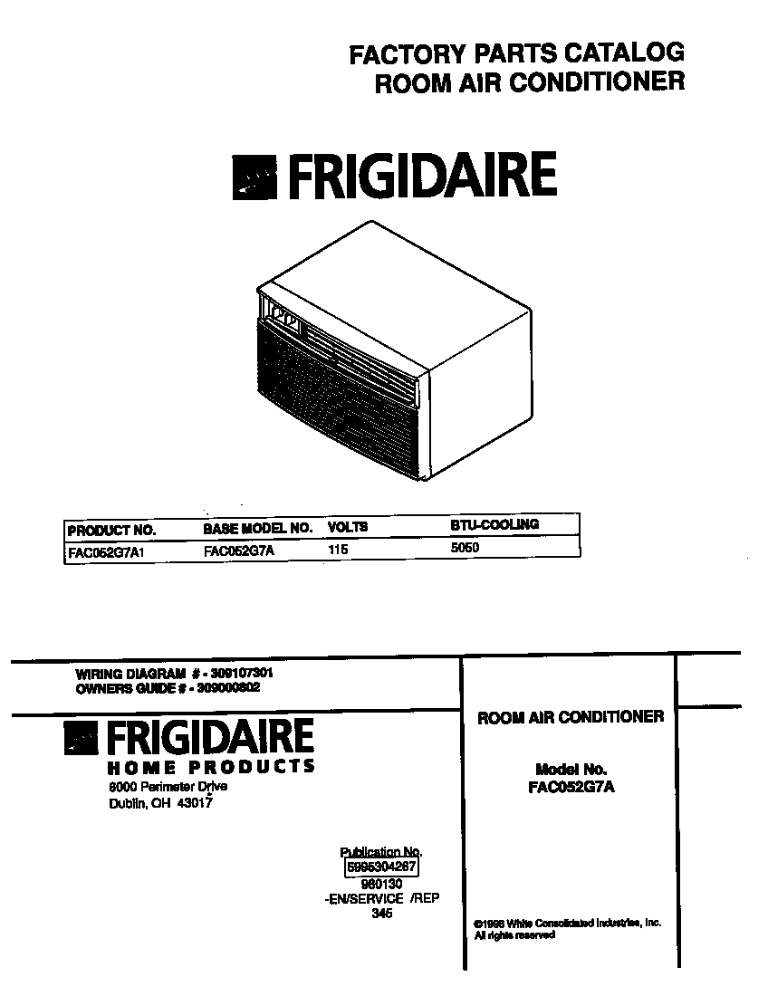 Frigidaire FAC052G7A1 cover diagram