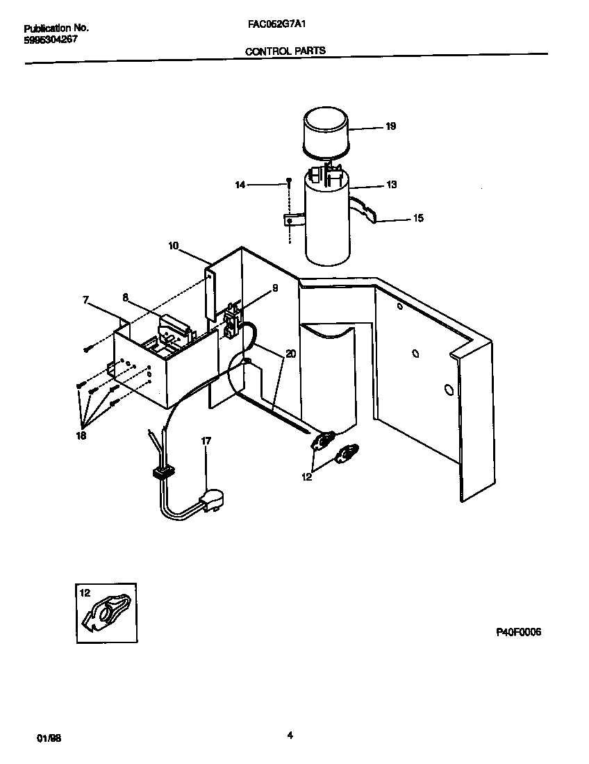 Frigidaire FAC052G7A1 control  parts diagram