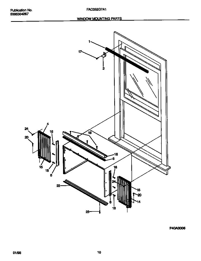Frigidaire FAC052G7A1 window  mounting  parts diagram
