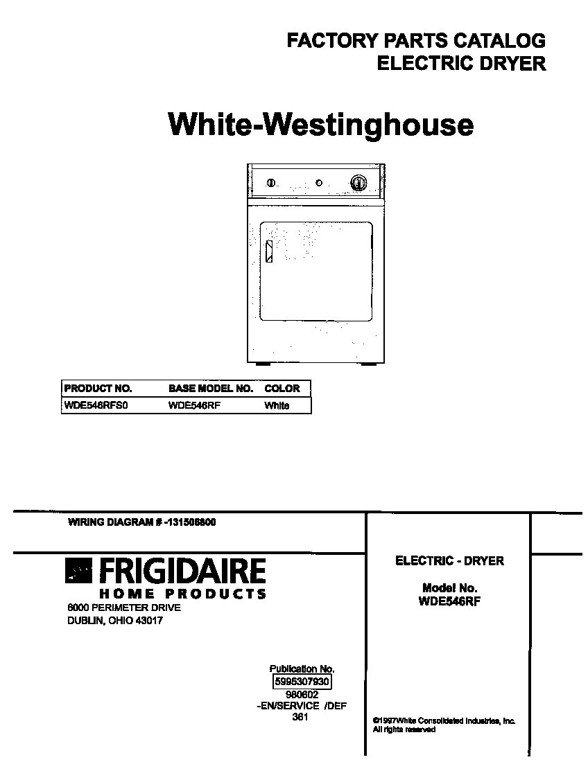 White-Westinghouse WDE546RFS0 cover diagram
