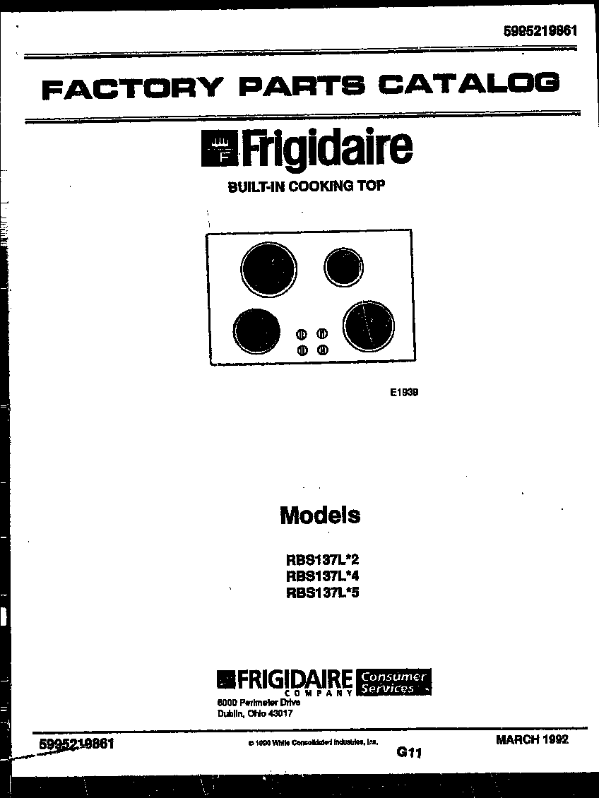 Frigidaire  Built-In Cooking Top - 5995219861  Cover