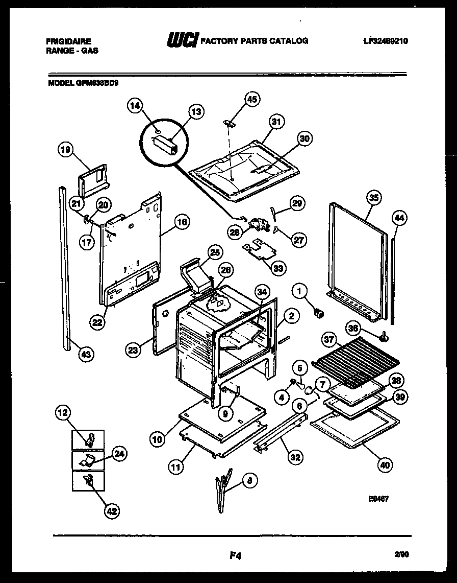 Frigidaire GPM638BDL9 lower body parts diagram