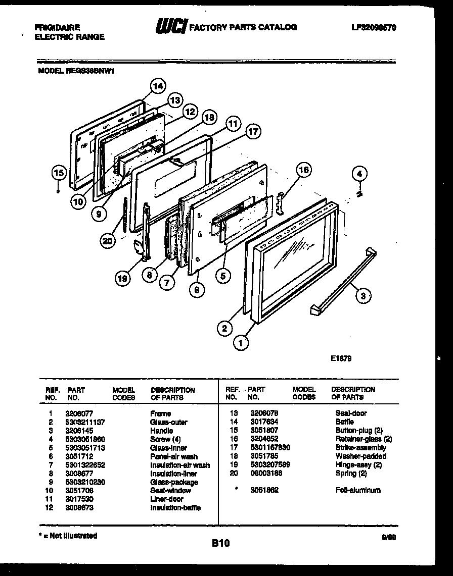 Frigidaire  Range - Electric - Lf32090570  Door parts