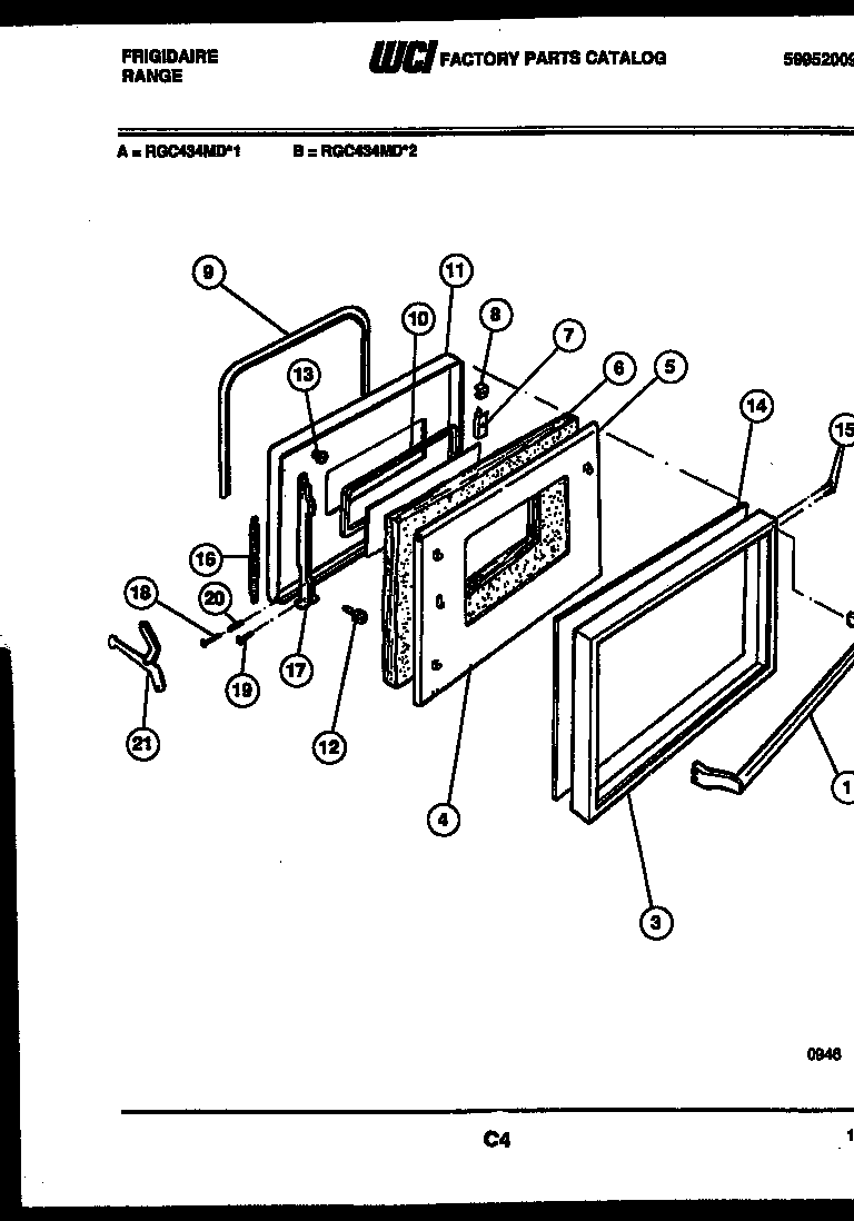 Frigidaire  Range - Electric - 5995200929  Door parts