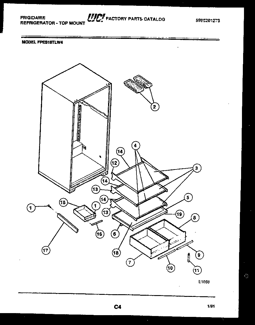 Frigidaire FPES18TLL4 shelves and supports diagram