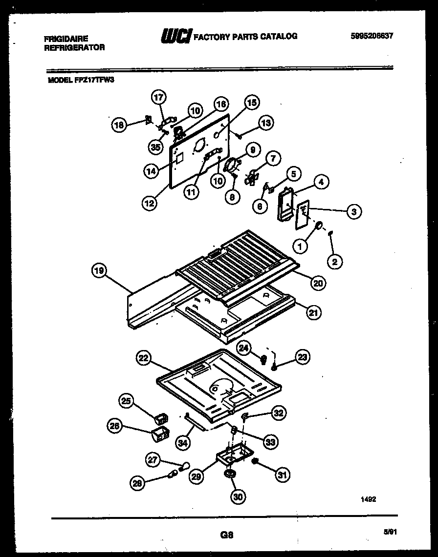 Frigidaire FPZ17TFH3 shelves and supports diagram