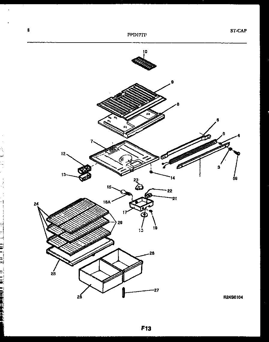 Frigidaire FPD17TFL1 shelves and supports diagram