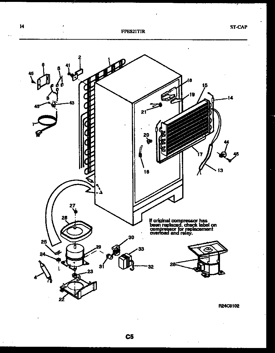 Frigidaire FPES21TIRW1 system and automatic defrost parts diagram