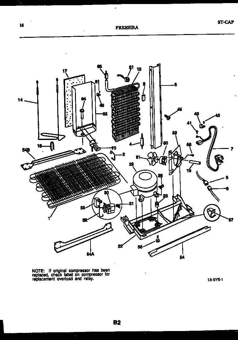 Frigidaire FRS20HRAD0 system and automatic defrost parts diagram