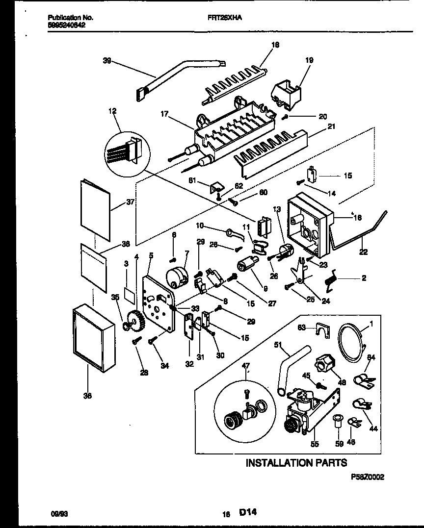 Frigidaire FRT26XHAZ0 ice maker and installation parts diagram