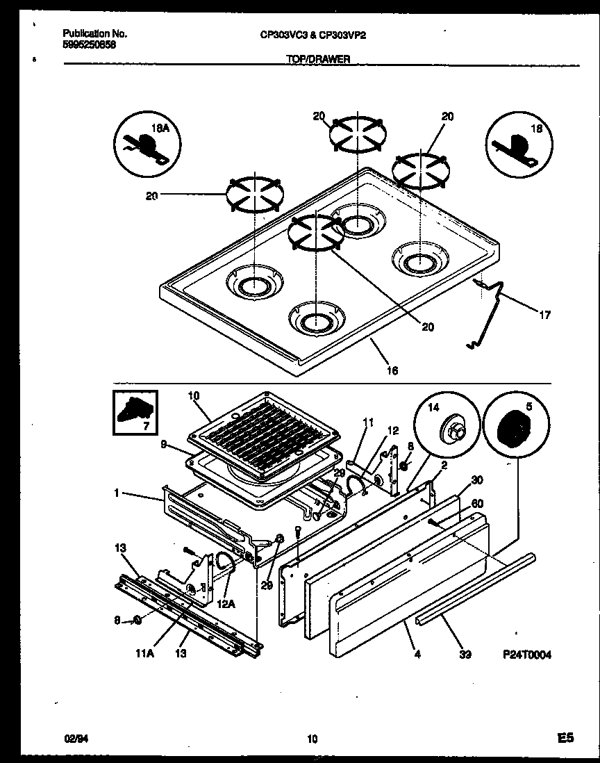 Gibson CP303VC3W2 cooktop and broiler drawer parts diagram