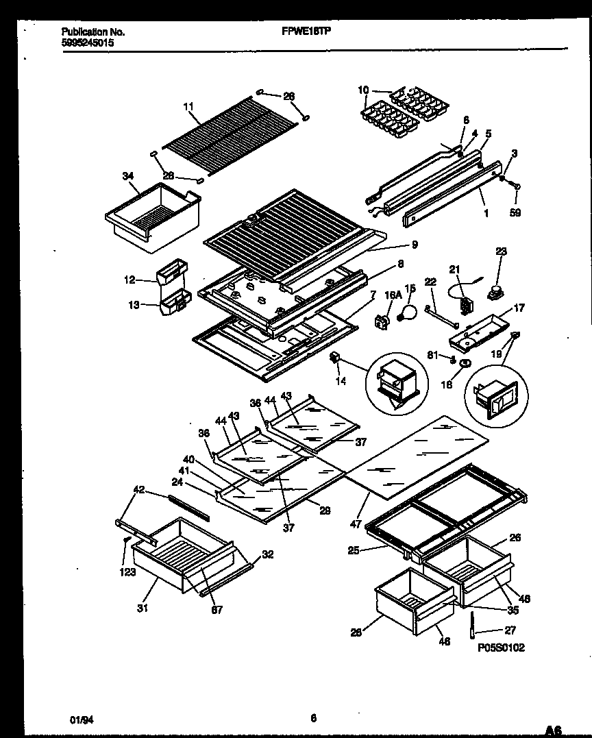 Frigidaire FPWE18TPW1 shelves and supports diagram