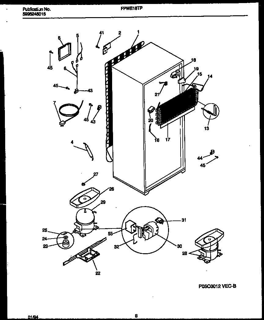 Frigidaire FPWE18TPW1 system and automatic defrost parts diagram