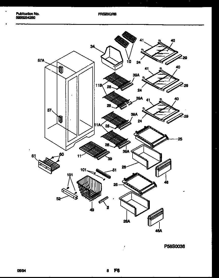 Frigidaire FRS20QRBD0 shelves and supports diagram