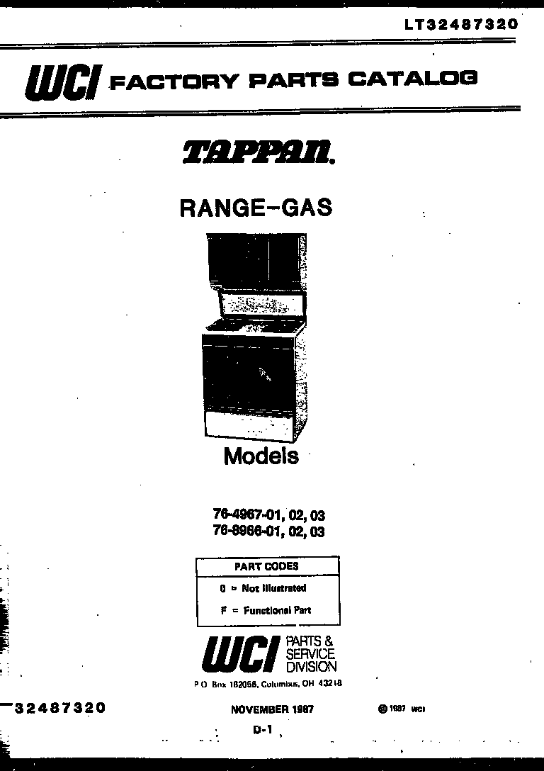 Tappan 76-8967-00-02 cover page diagram