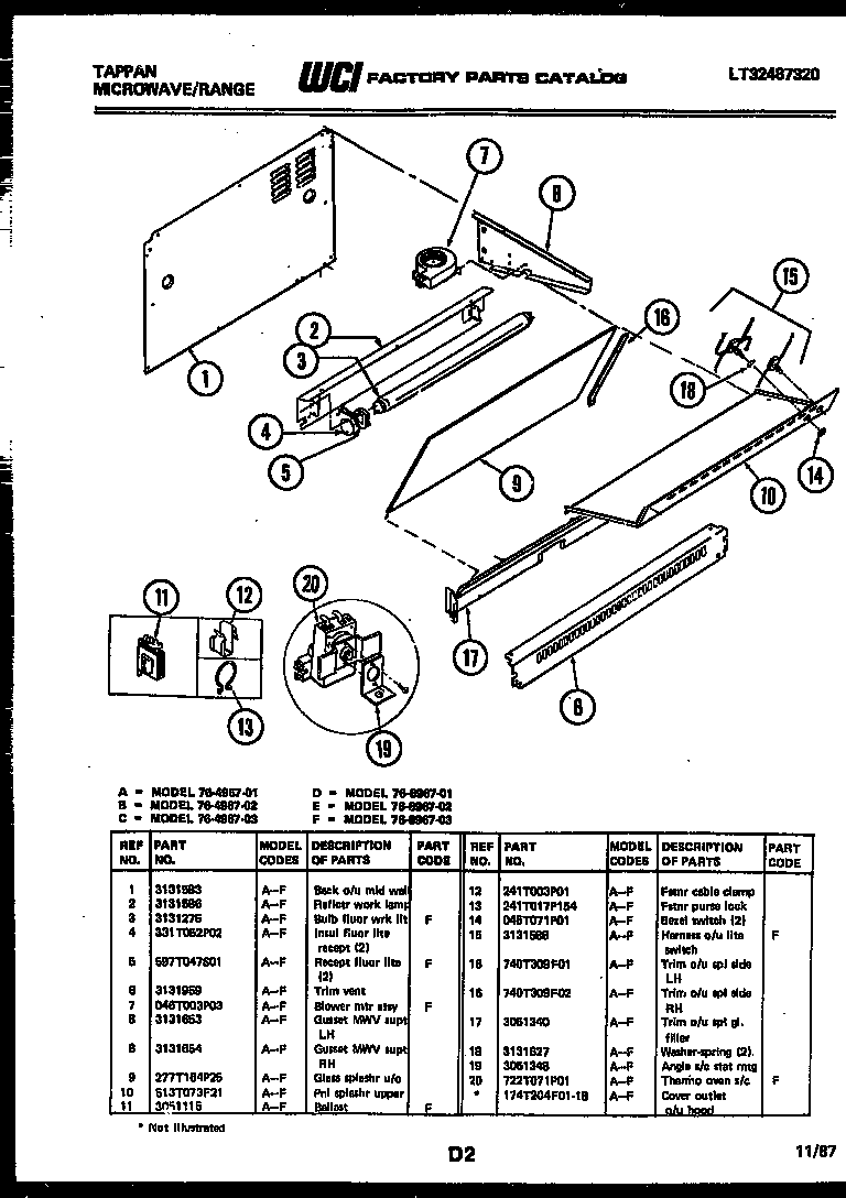 Tappan 76-8967-00-02 splasher control diagram
