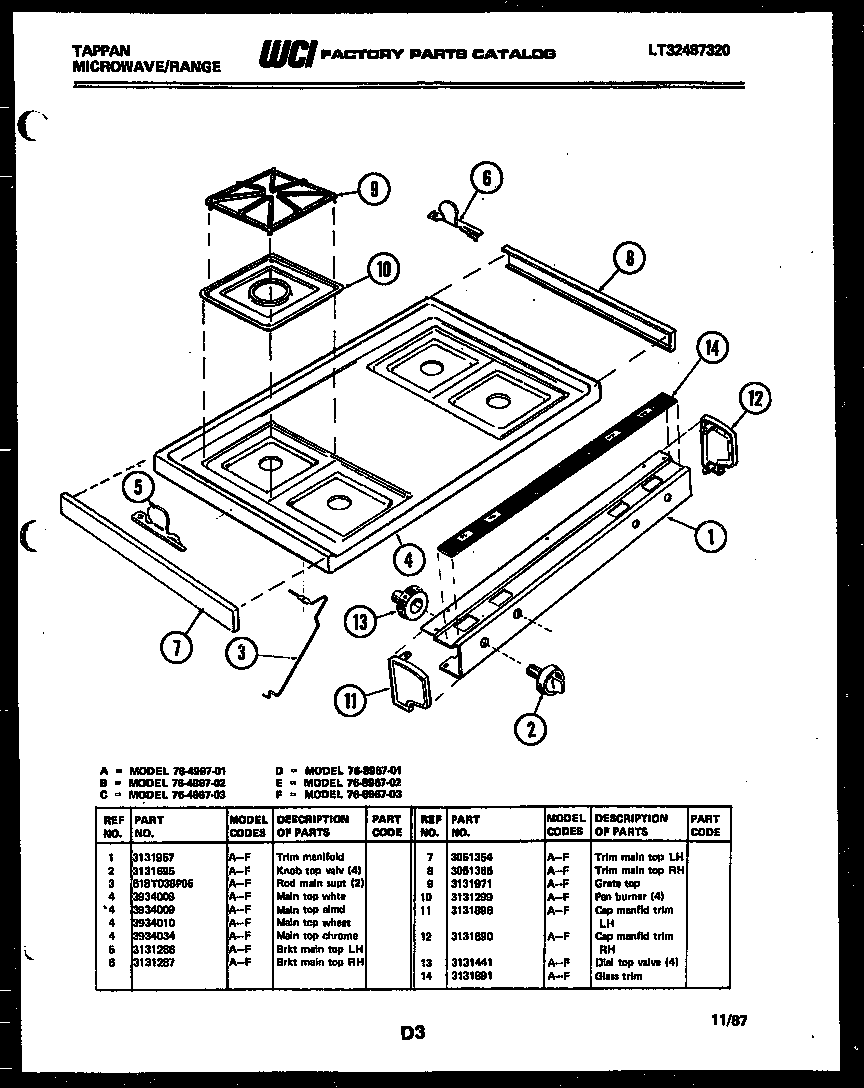 Tappan 76-8967-00-02 cooktop parts diagram