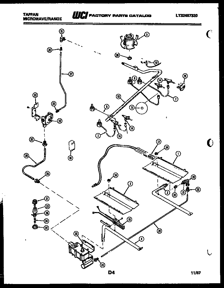Tappan 76-8967-00-02 burner, manifold and gas control diagram