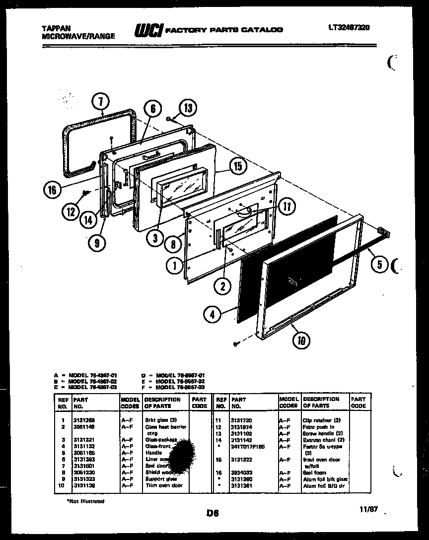 Tappan 76-8967-00-02 lower oven door parts diagram