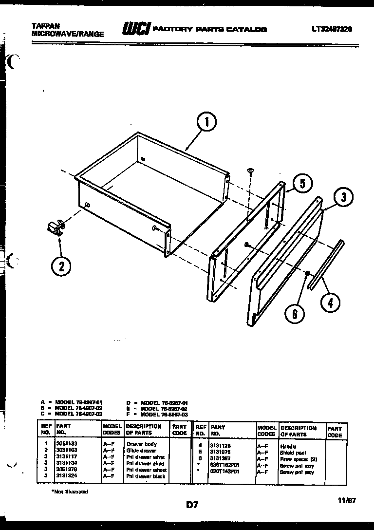 Tappan 76-8967-00-02 drawer parts diagram
