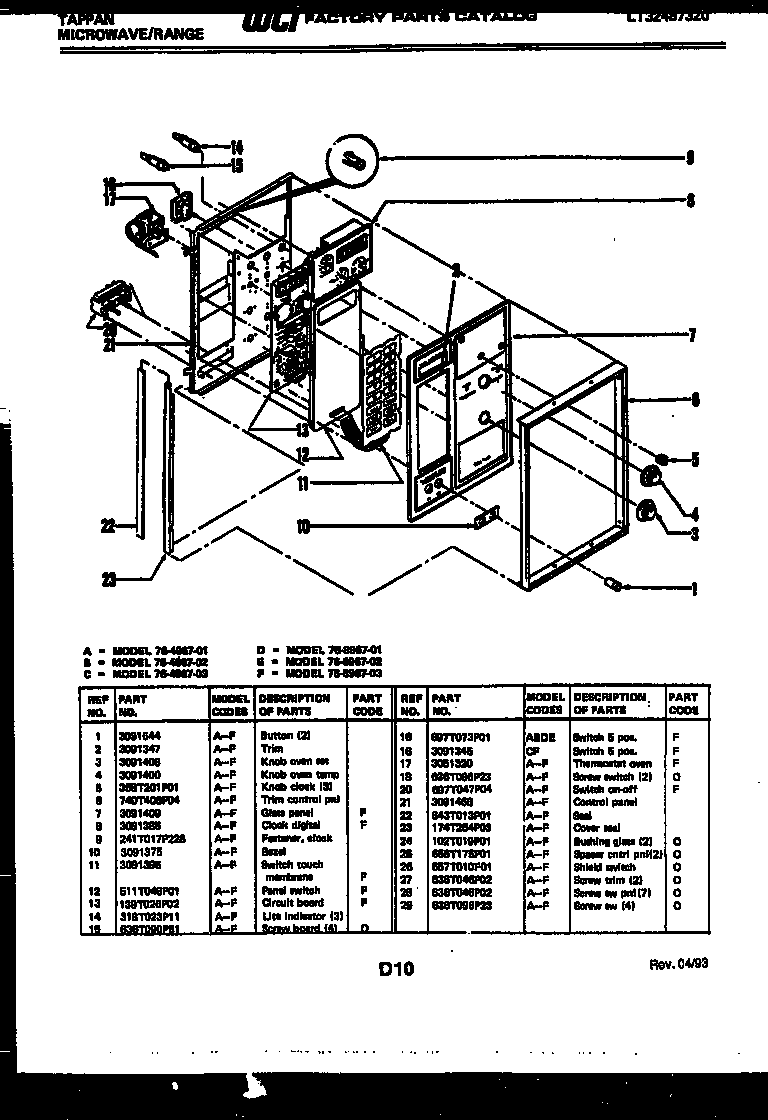 Tappan 76-8967-00-02 control panel diagram