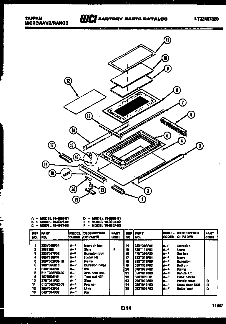 Tappan 76-8967-00-02 top door parts diagram
