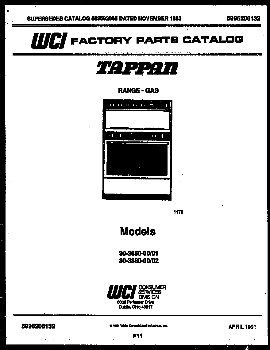 Tappan 30-3860-00-01 cover page diagram