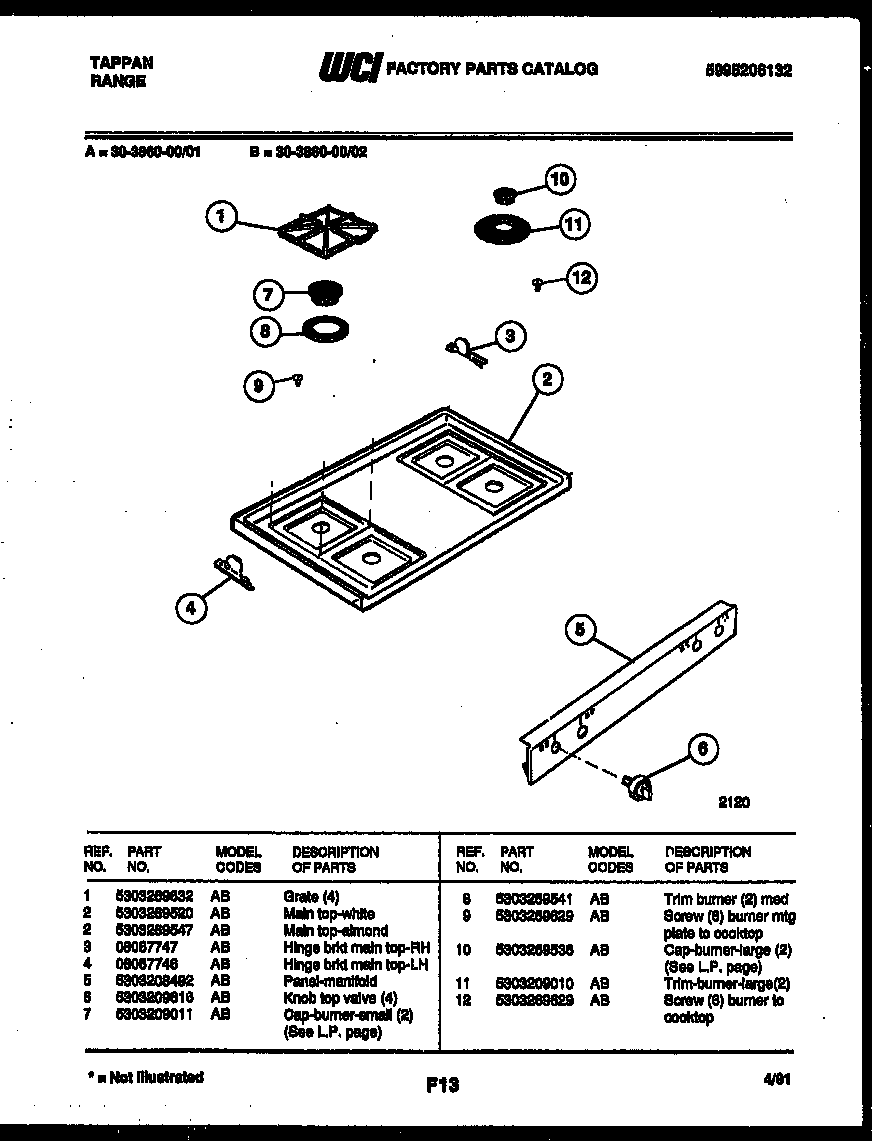 Tappan 30-3860-00-01 cooktop parts diagram