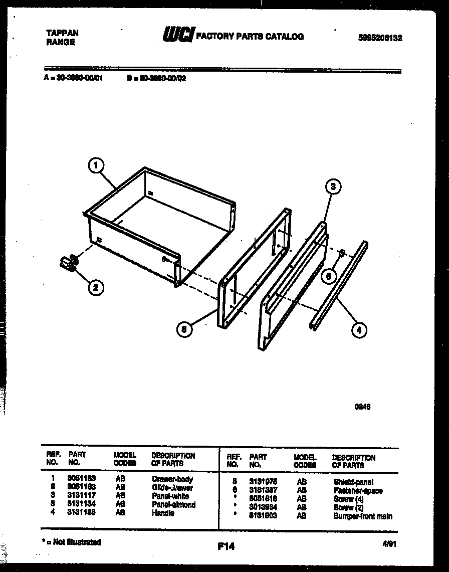 Tappan 30-3860-00-01 drawer parts diagram