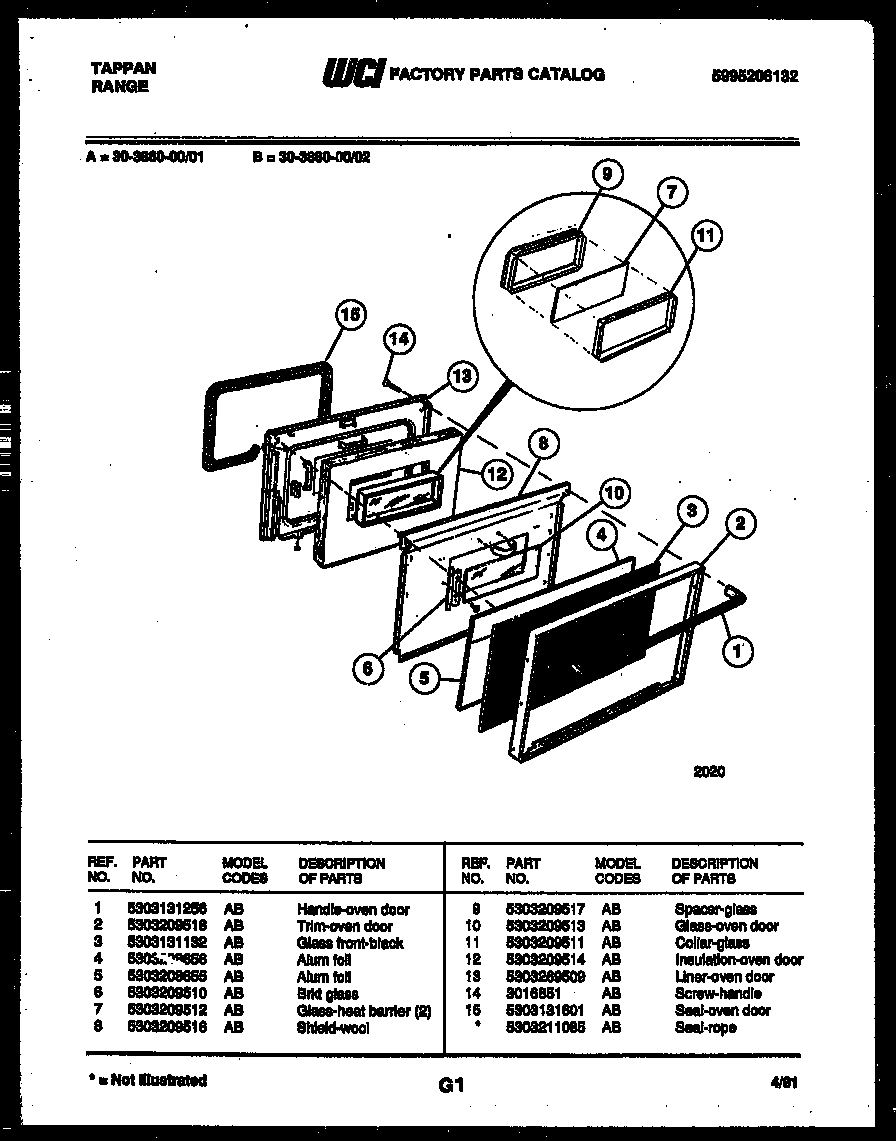 Tappan 30-3860-00-01 door parts diagram