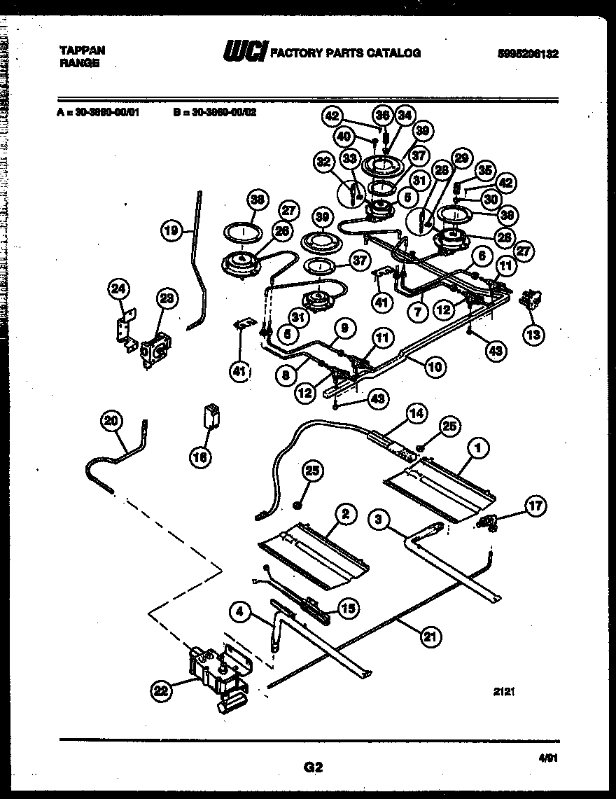 Tappan 30-3860-00-01 burner, manifold and gas control diagram