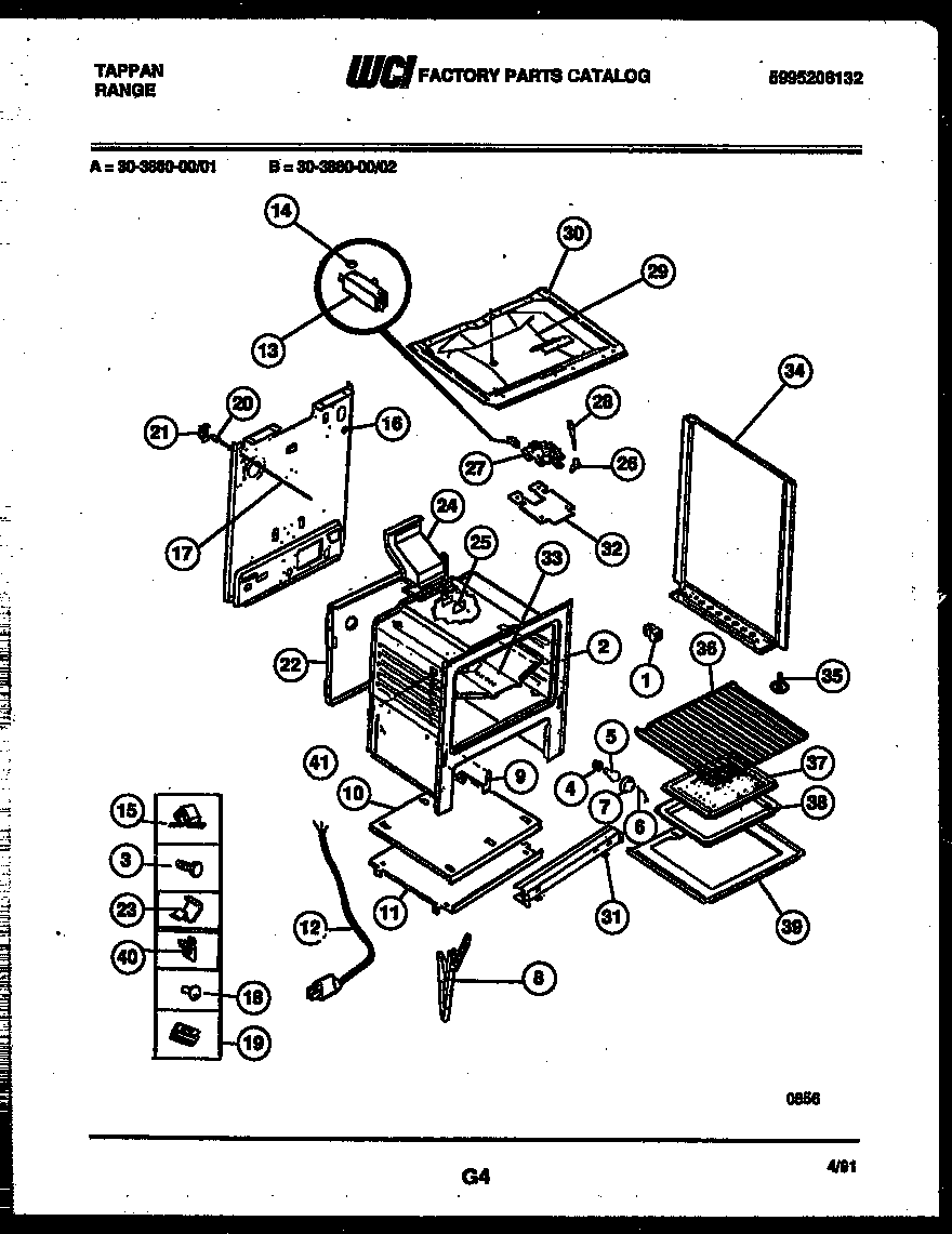 Tappan 30-3860-00-01 body parts diagram