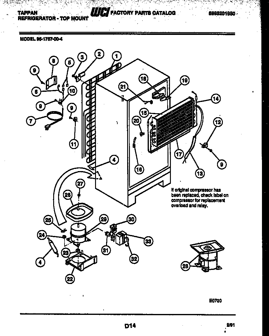Tappan 95-1757-66-04 system and automatic defrost parts diagram