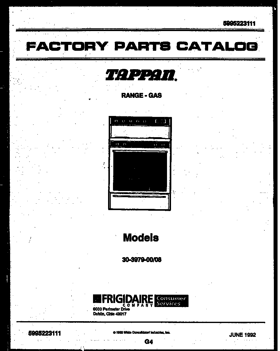 Tappan 30-3979-23-08 cover page diagram