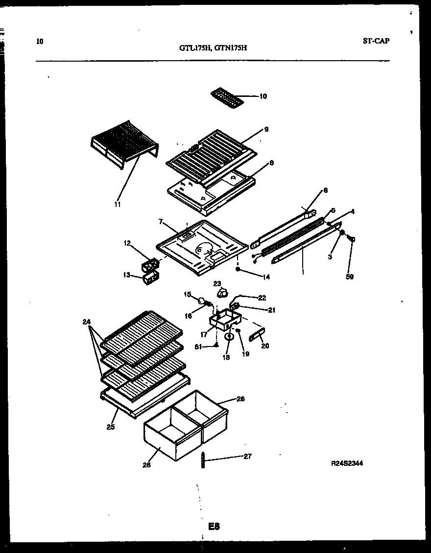 Gibson GTL175HH5 shelves and supports diagram