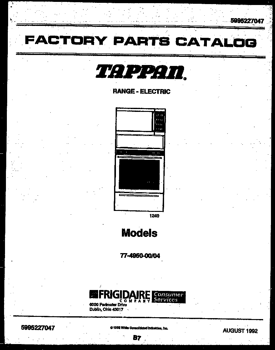 Tappan 77-4950-23-04 cover page diagram