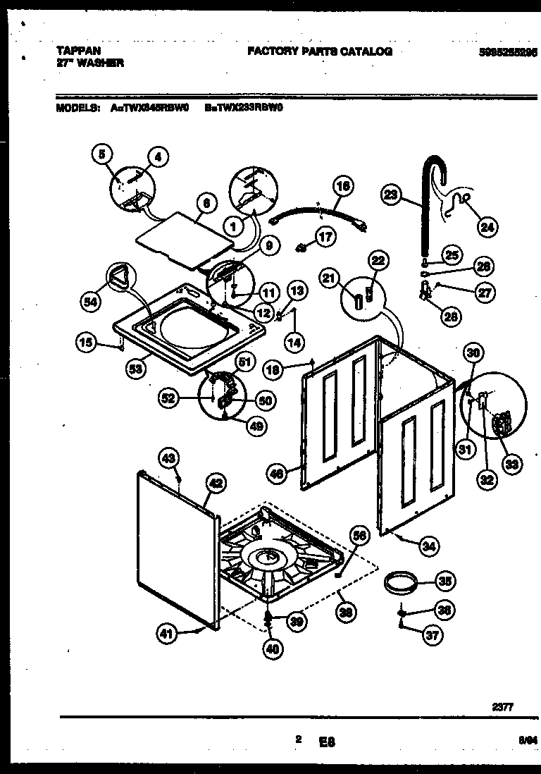 Tappan TWX233RBD0 cabinet parts diagram